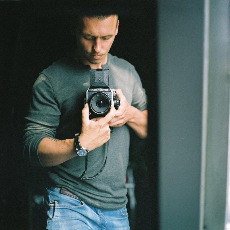 self  portrait  film  ishootfilm  mediumformat,  6x6film,  bronica,  bronicaec,  zenzabronica,  fuji400h,  fuji,  selfportrait,  male portrait,  mirror,  color film,  grain,  square, Selfphoto preview