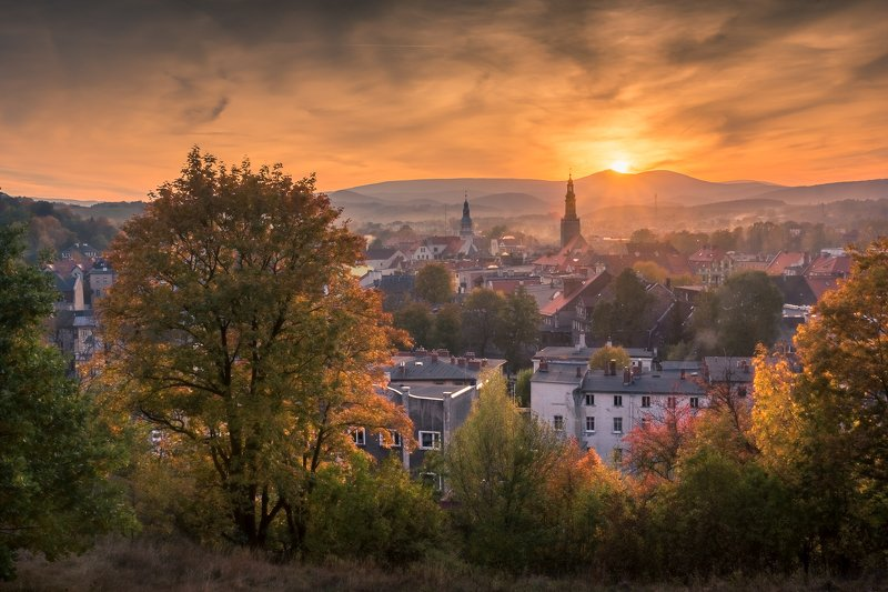 karkonosze, mountains, sniezka, kamienna, gora, autumn, landscape, nature, sunset, city, Kamienna Goraphoto preview