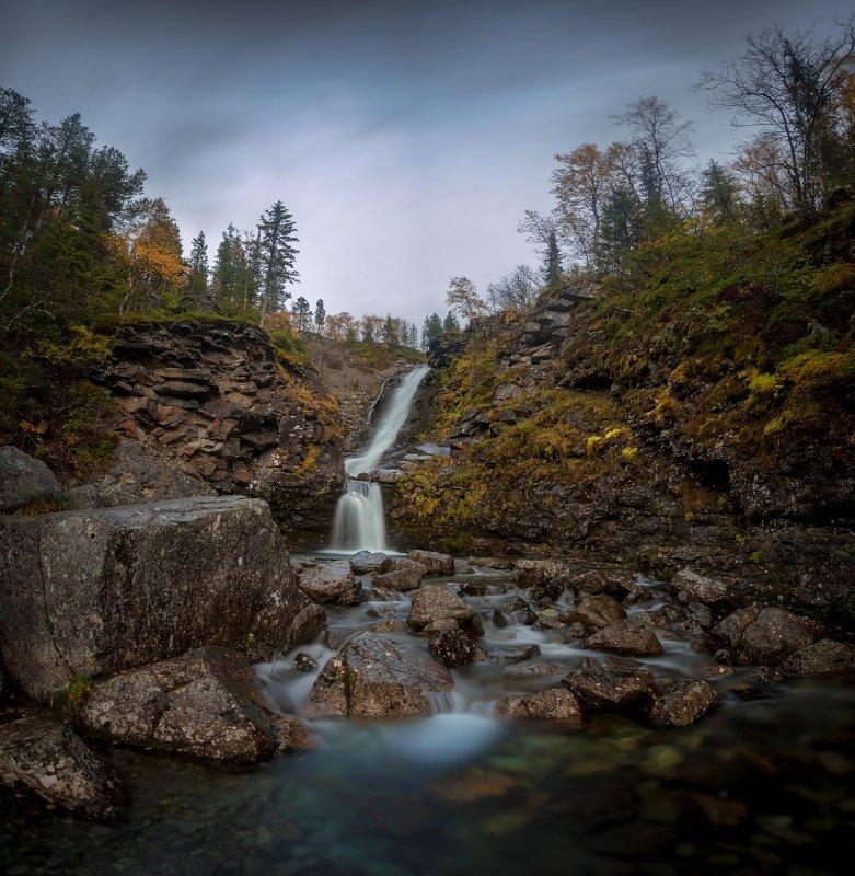 хибины, водопад, кольский, осень, река, выдержка Водопад \