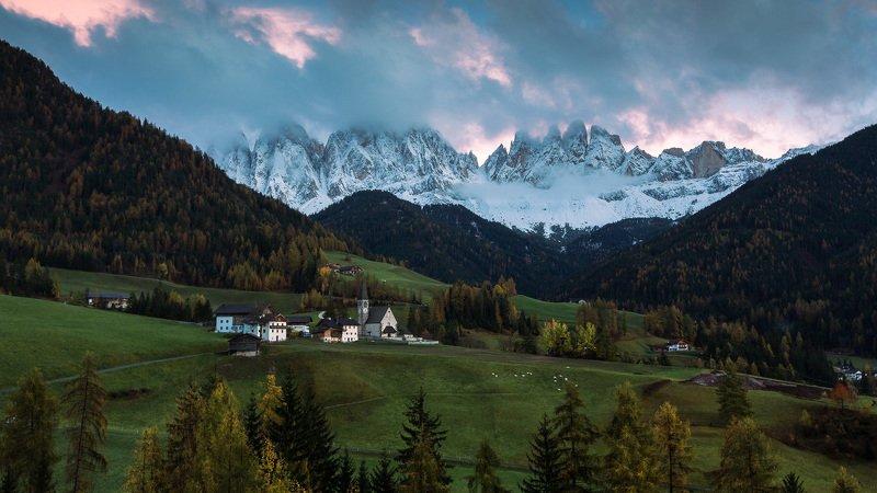 италия, доломиты, санта магдалена, горы, облака, закат, осень Santa Maddalena.photo preview