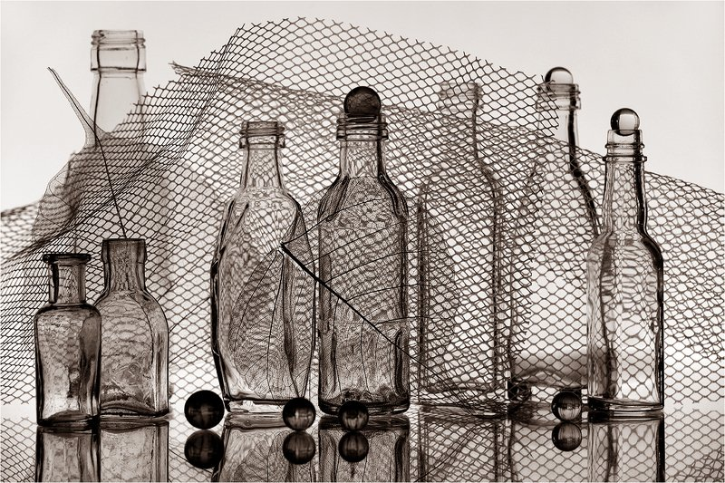 стекло, бутылка, бутылки, натюрморт, листья, photo preview