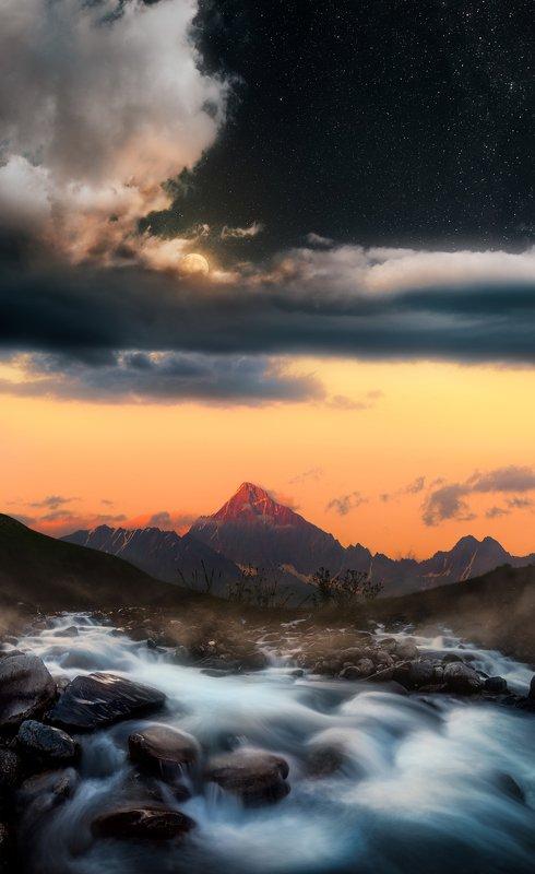 #ossetia #landscape #mamison #sunset #moon #clouds #stars #river #mountains #caucasus #moonlight #пейзаж #закат #горы #осетия Времена сутокphoto preview