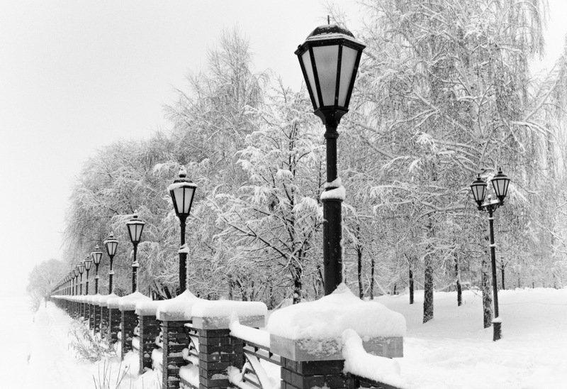 снег, набережная, снегопад, река, ограждение После снегопадаphoto preview