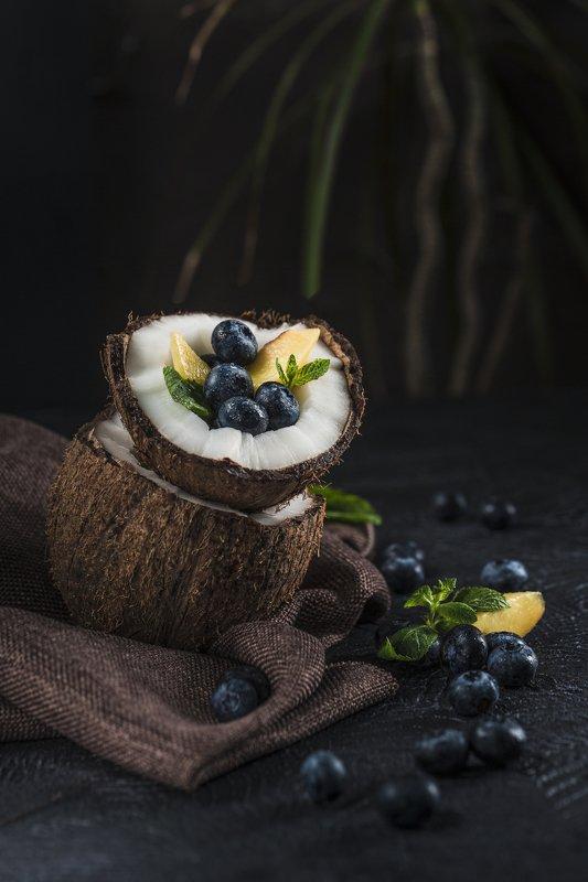 Кокос, черника, персик, еда, фудфото Экзоphoto preview