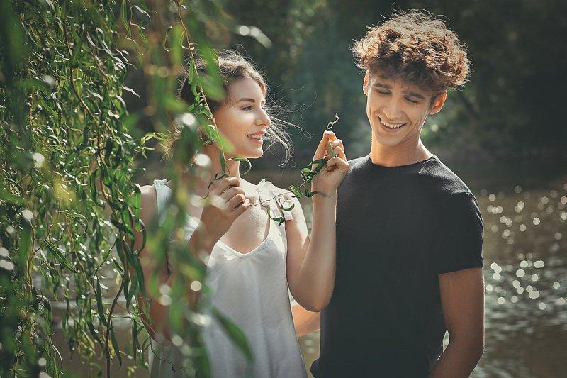 девушка, парень, природа, любовь, влюбленные, семья, первая любовь Параphoto preview