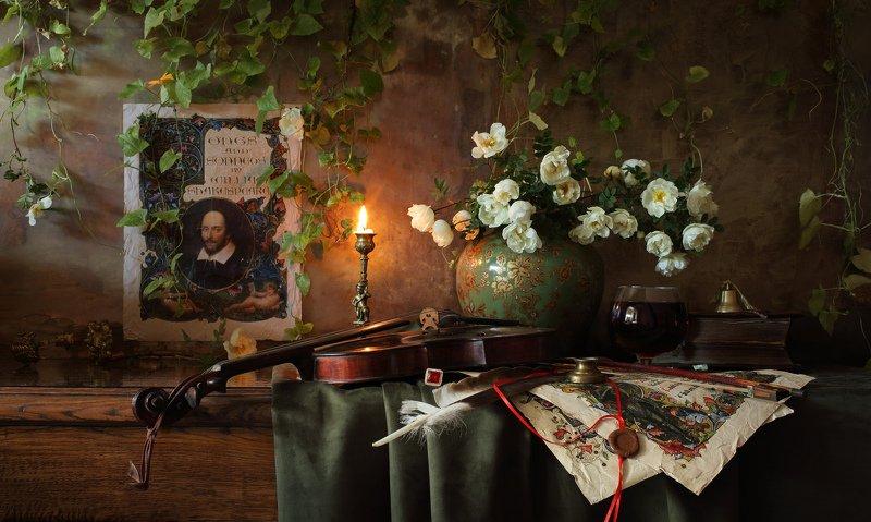 музыка, скрипка, цветы, история, Шекспир, оформление, свет, свеча Натюрморт по мотивам сонетов Шекспираphoto preview