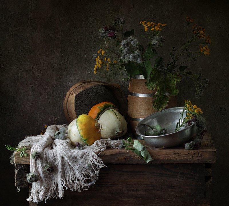 натюрморт, пижма, репей, посуда, осень, ткань, тыква ох, уж этот репейphoto preview