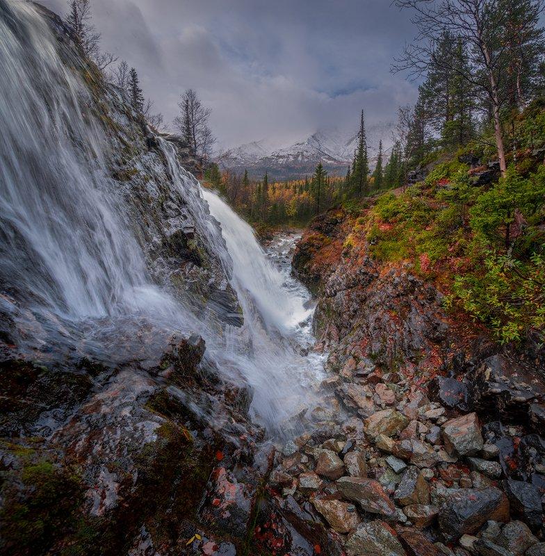 пейзаж,вода,водопад,кольский,север,россия,хибины,осень photo preview