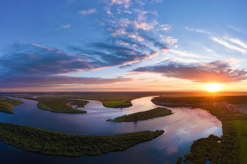 mavic2, drone, topview, river, siberia, tomsk, sunset Летний закатphoto preview