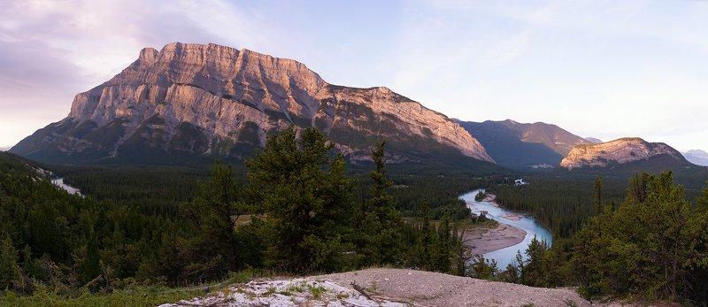 канада, банф, рассвет Рассвет на рекой Боуphoto preview