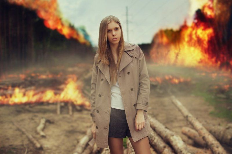 девушка, пожар, лес, горит, апокалипсис, лиза, елизавета, огонь Апокалипсисphoto preview