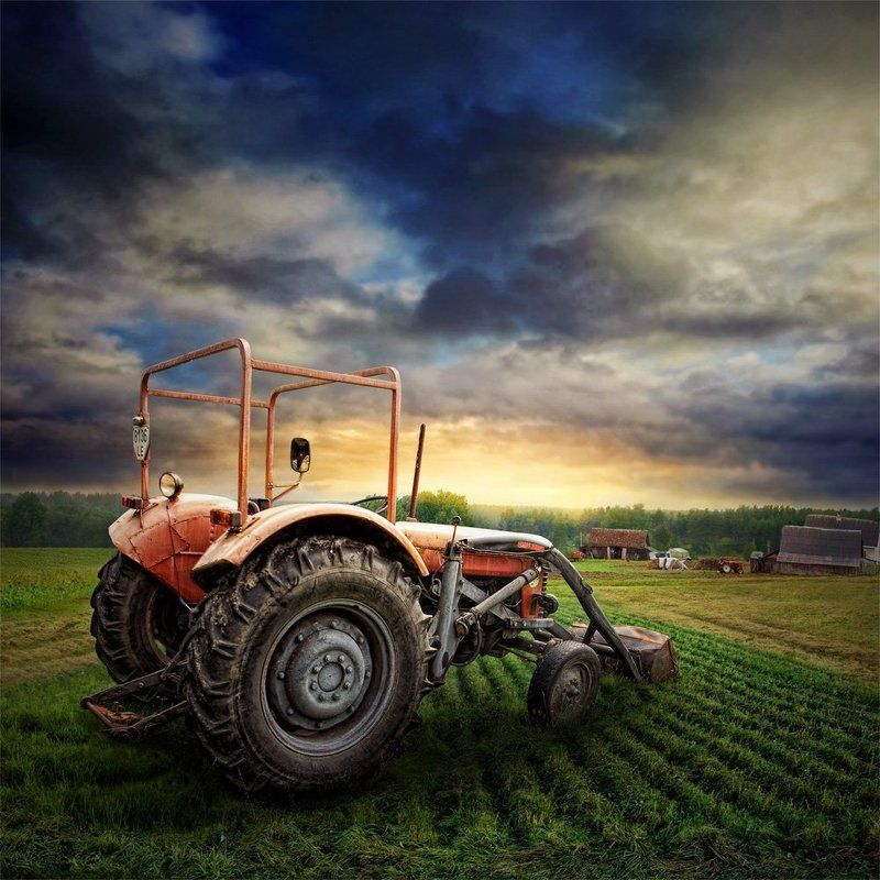autumn, field, landscape, nature, light, cloud, agriculture, industrial, loneliness, country, machine, rural, farm, dramatic, rusty, metal, tractor, meadow, bulldozer, machinery, house Field Commander IIphoto preview
