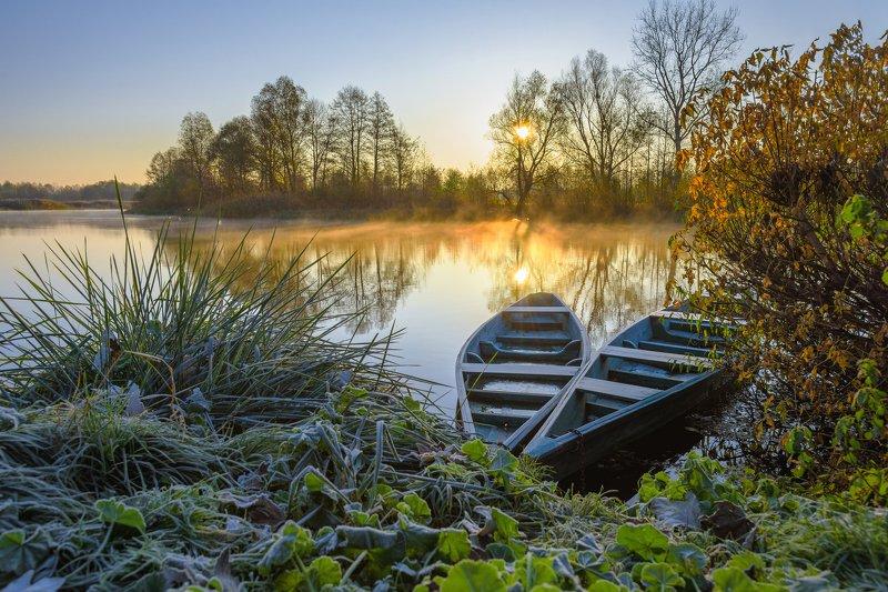 sunrise, boat, autumn, couple, two, morning Утренний Инь-Янphoto preview