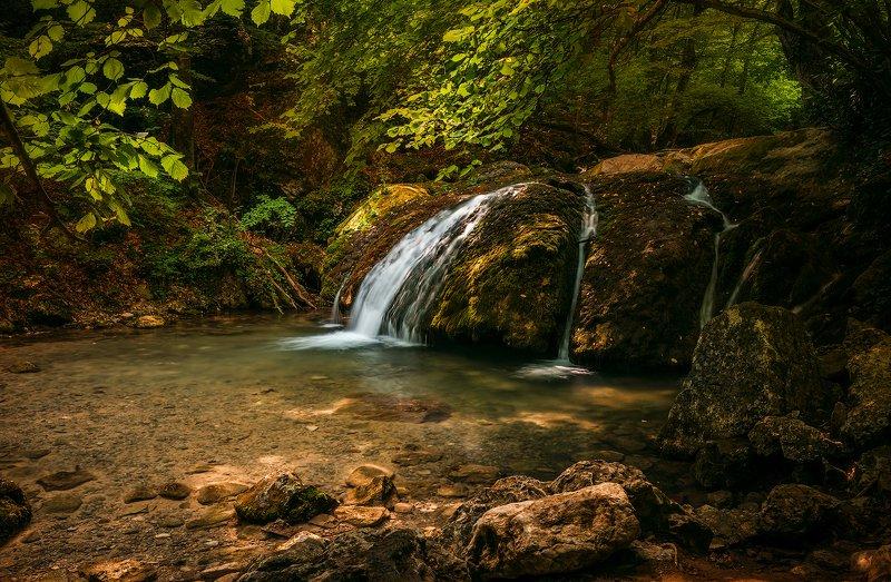 крым, водопад, лес, река, пейзаж, лето, вода, деревья, россия,  хапхал, ущелье, улу-узень Под звуки летящей воды...photo preview