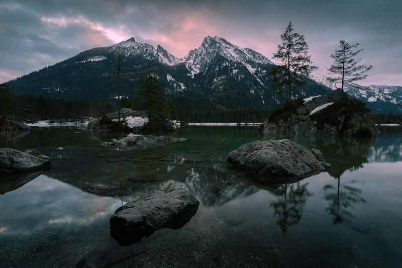 германия, бавария, берхтесгаден, хинтерзее, весна, озеро, рассвет, отражение Hintersee.photo preview