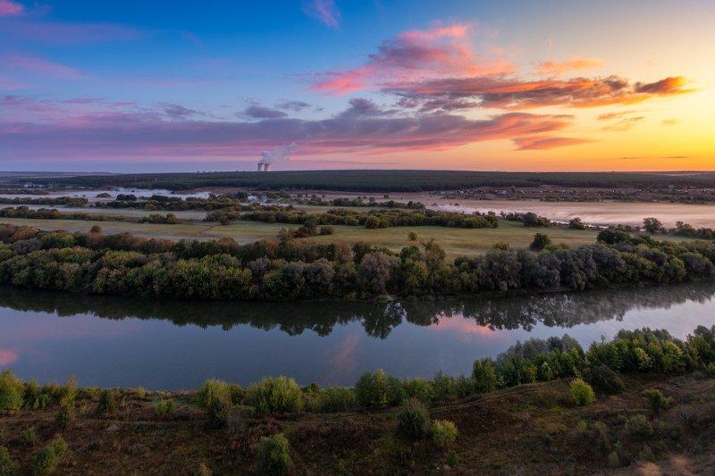 morning, sunrise, dawn, landscape, colors, clouds, mist, panorama, river, утро, рассвет, река, туман, пейзаж On the edge of the nightphoto preview