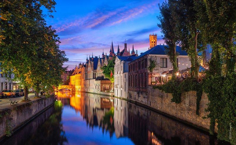 брюгге, бельгия, закат, brugge, bruges, belgique, belgien Meestraat Bridgephoto preview