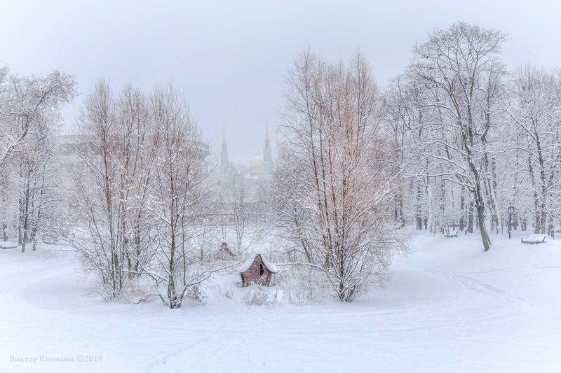 москва, парк, екатерининский, мечеть, зима В зимнем паркеphoto preview