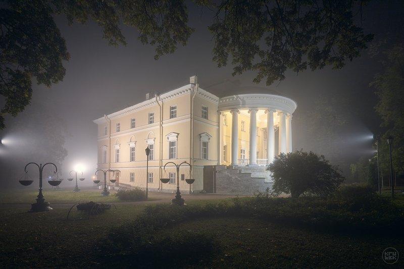пушкин, ночь, туман, Дворец бракосочетаний в Пушкинеphoto preview