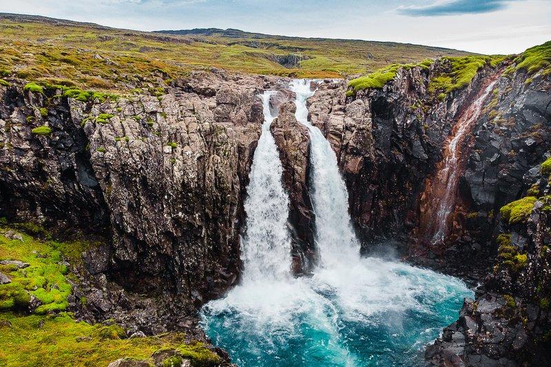 Iceland, waterfall, aerial, drone, mavic, air Waterfallphoto preview