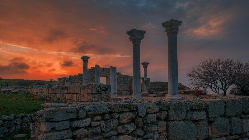 крым, вечер, херсонес, закат, море, севастополь, музей, облака, Закаты древнего городаphoto preview