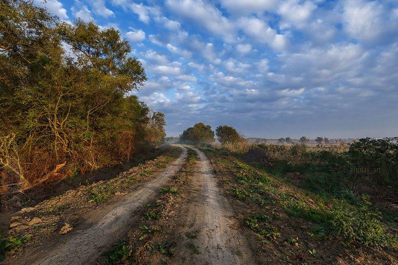 кубань, сентябрь, дорога, кубанские туманы, таманский полуостров, темрюк «Ламповое» утроphoto preview