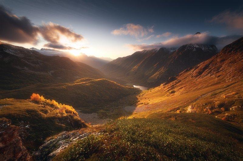 закат, горы, озеро, кавказ, пейзаж, кавказский заповедник, кардывач Жемчужина Кавказаphoto preview
