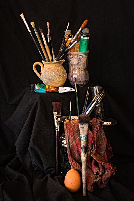 arrangement, art, brush, color, colors, color-image, photography, still-life, Paint Brushes Arrangementphoto preview