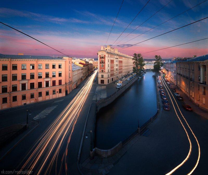 Город, крыша, пейзаж, выдержка, архитектура, петербург, россия Переулок Гривцоваphoto preview