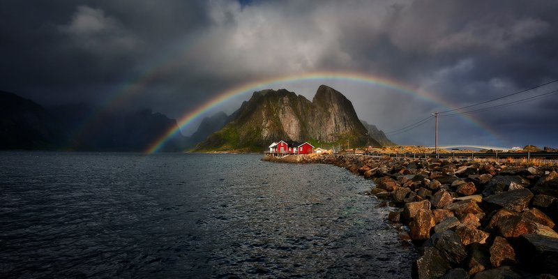 lofoten, hamnoy, reine, rainbow, norway Lofoten rainbowphoto preview