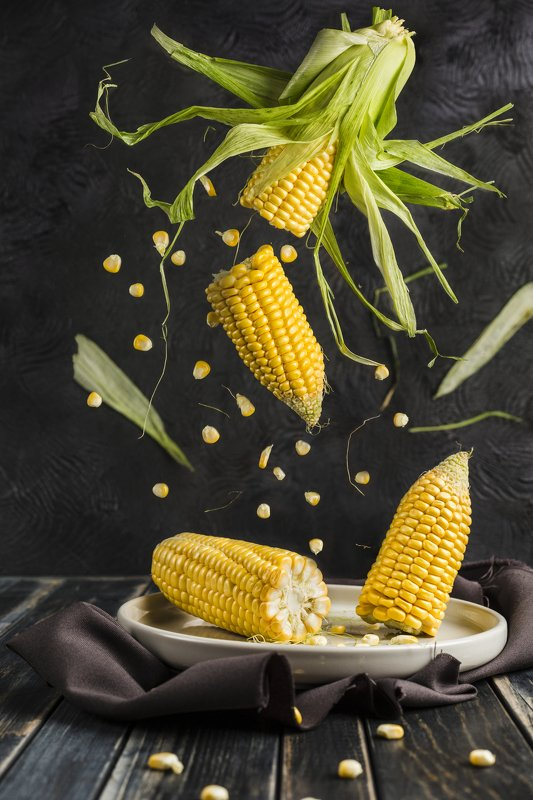 corn, food, еда, кукуруза, овощи, левитация fly cornphoto preview