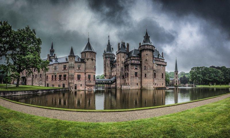 замок, kasteel de haar, нидерланды, пруд Замок Kasteel de Haarphoto preview