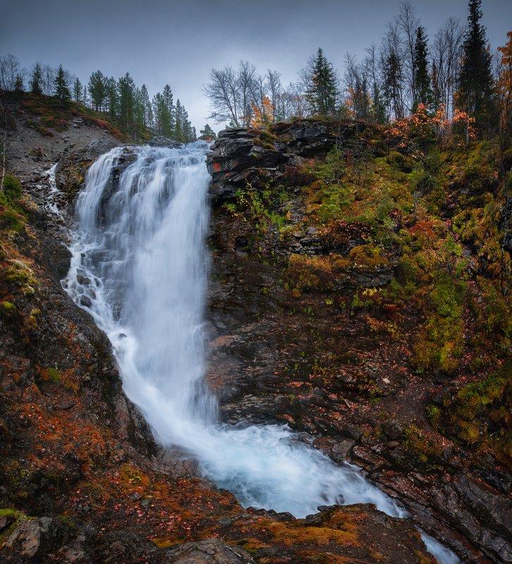 пейзаж,хибины,вода,осень,панорама,облачно,кольский,север,мурманская область Водопад Красивыйphoto preview