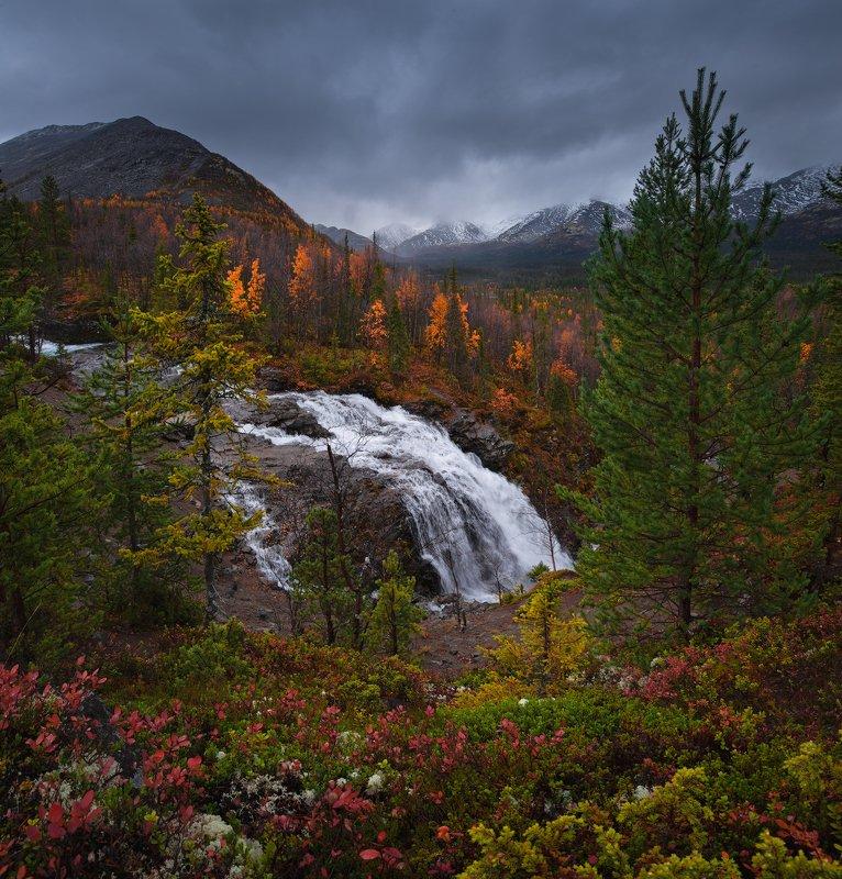 пейзаж,хибины,водопад,россия,горы,панорама,осень Хибиныphoto preview