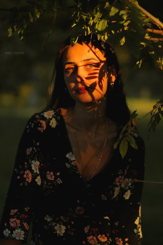 girl, sunset, autumn, sun light, canon, shadow, green eyes, Portrait of Fallphoto preview