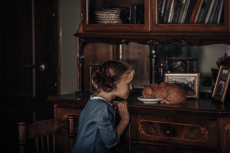 ретро, котенок, молоко, девочка. ребенок, ссср photo preview