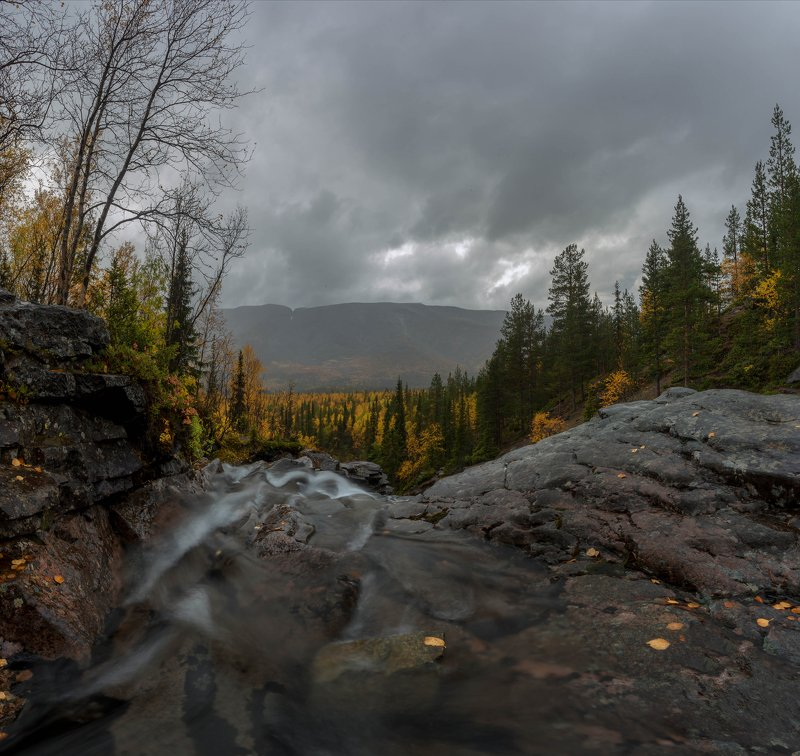 хибины, водопад, кольский, осень, река, выдержка Осень в Хибинахphoto preview