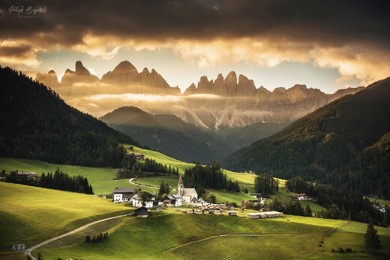 sunset, clouds, green, sunlight, light, village, rural, trees, nature, dramatic, sky, autumn, italy, dolomites, church, architecture, Framephoto preview
