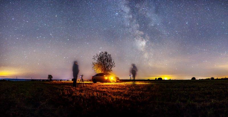 звезды, млечный путь, ночь, астрофото, тюки, автомабиль д. Валюшиноphoto preview