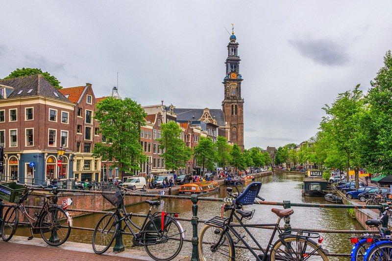amsterdam, zuiderkerk, channel, buildings, trees Amsterdam, Zuiderkerkphoto preview