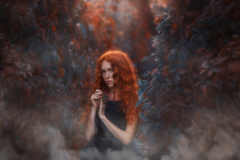 Осень. Девушка. Закат Рыжаяphoto preview