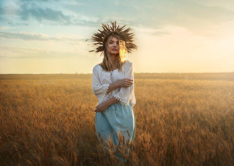 девушка, сказка, лето, волшебство, фото, арт, портрет , поле, пшеница, колос Солнцеphoto preview