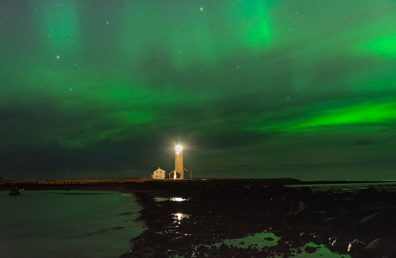iceland, polar lights, lighthouse, исландия, северное сияние, маяк photo preview