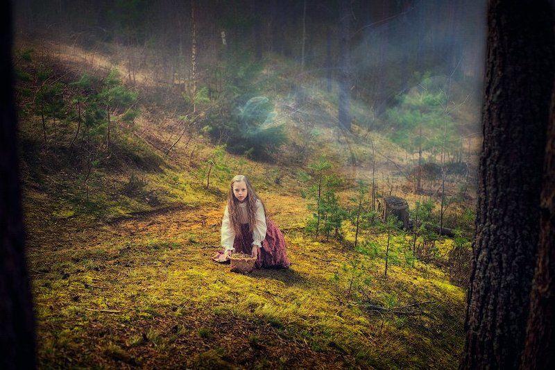 девочка, сказка, лес, колдовство, туман, загадка, чаща, поляна, dyadyavasya Одна в заколдованном страшном лесуphoto preview