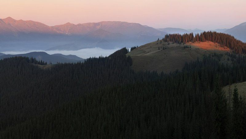 карпаты, кукул, горы Первые лучи.photo preview