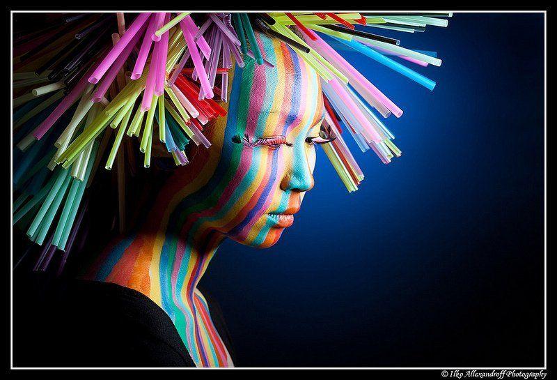 strobist, japanese, portrait Rainbow Stripesphoto preview