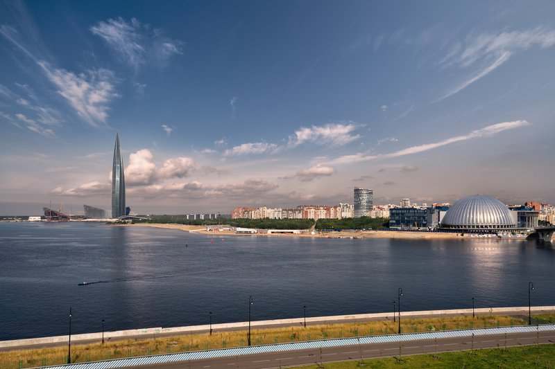утро,питербург,кад,финский залив,лахта центр,небо,облака вид на Лахта Центрphoto preview