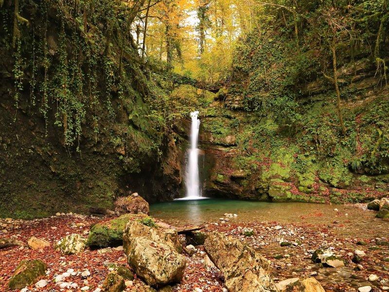 горы, осень, река, водопад Осенний водопад*photo preview