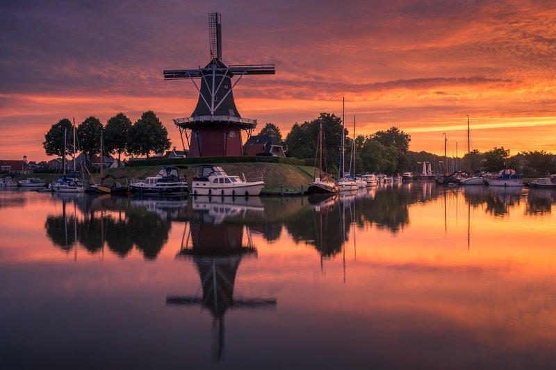 dokkum, netherlands, water, sunrise, sun, reflection, windmill, Windmill in Dokkumphoto preview