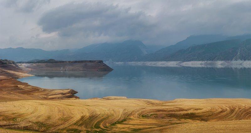 природа, пейзаж, горы, кавказ, природа россии, дикая природа, водохранилище, панорама, облака, вечер, весна, Чиркейское водохранилищеphoto preview